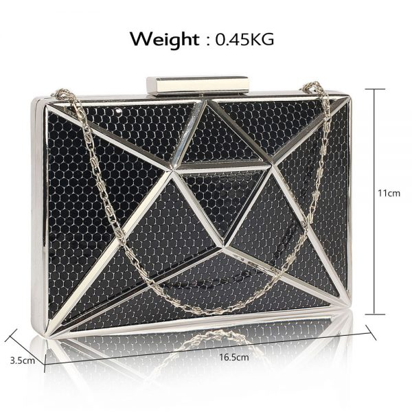 LSE00340 -Black Metal Mesh Clutch Bag