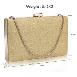 LSE00345 - Gold Glitter Clutch Bag