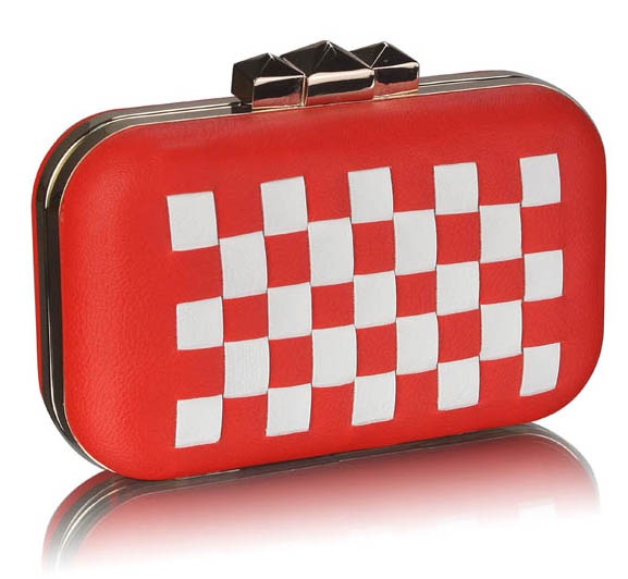 LSE0059 - Red/White Hardcase Clutch Bag