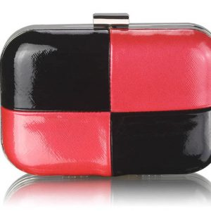 LSE0061 - Black / Red Hardcase Clutch Bag