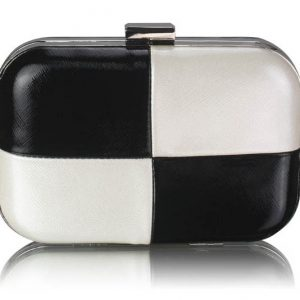 LSE0061 - Black/White Hardcase Clutch Bag