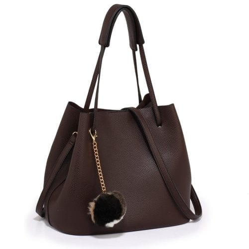 AG00190 -Coffee Hobo Bag With Faux-Fur Charm