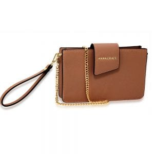 AG00593 - Brown Cross Body Shoulder Bag With Wristlet