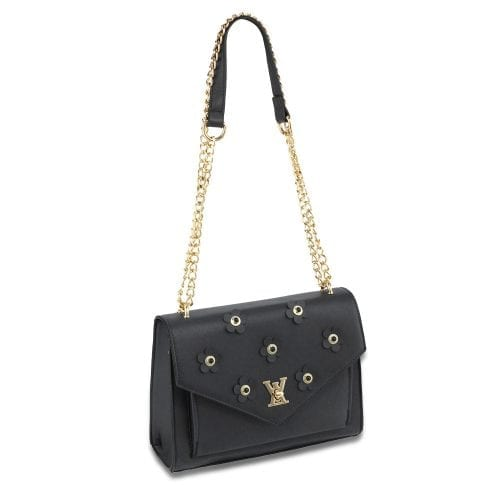 AG00626 - Black Flap Twist Lock Cross Body Bag