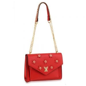 AG00626 - Red Flap Twist Lock Cross Body Bag