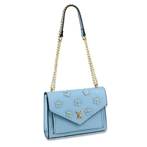 AG00626 - Blue Flap Twist Lock Cross Body Bag