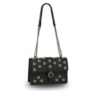 AG00630 - Black Flap Crystal Cross Body Bag With Black Metal Work