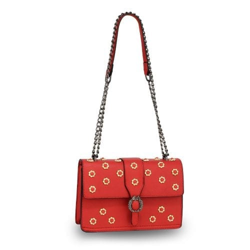 AG00630 - Red Flap Crystal Cross Body Bag With Black Metal Work