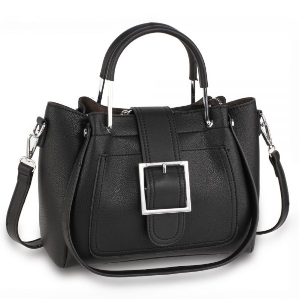 AG00632 - Black Grab Tote Bag With Silver Metal Work