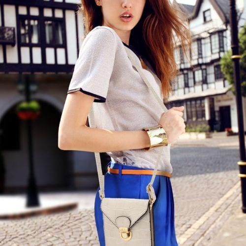 AG00642 - Beige Croc Print Cross Body Shoulder Bag