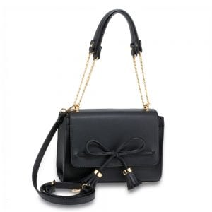AG00654 - Black Flap Tassel Cross Body Bag