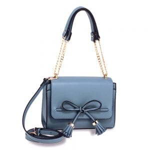 AG00654 - Blue Flap Tassel Cross Body Bag