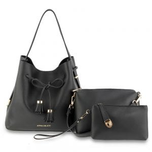 AG00656 - 3 Pieces Set Black Women's Fashion Handbags