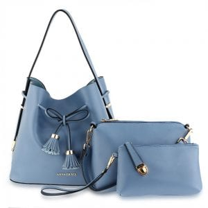 AG00656 - 3 Pieces Set Blue Women's Fashion Handbags