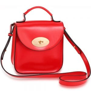 AG00662 - Red Flap Twist Lock Cross Body Bag