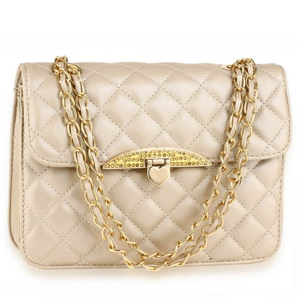 AG00668 - Champagne Cross Body Bag With Gold Metal Work