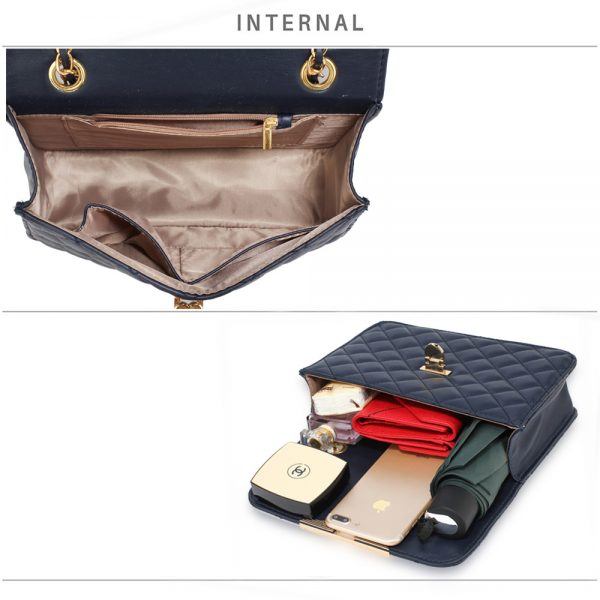AG00668 - Navy Cross Body Bag With Gold Metal Work