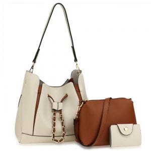 AG00670 - 3 Pieces Set Beige / Brown Women's Fashion Handbags