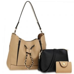 AG00670 - 3 Pieces Set Nude / Black Women's Fashion Handbags