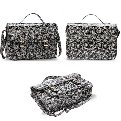 AG00672 - Black Floral Design Satchel