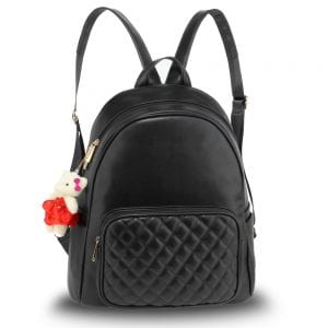 AG00674 - Black Backpack Rucksack With Bag Charm