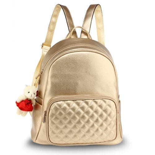 AG00674 - Gold Backpack Rucksack With Bag Charm