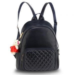 AG00674 - Navy Backpack Rucksack With Bag Charm
