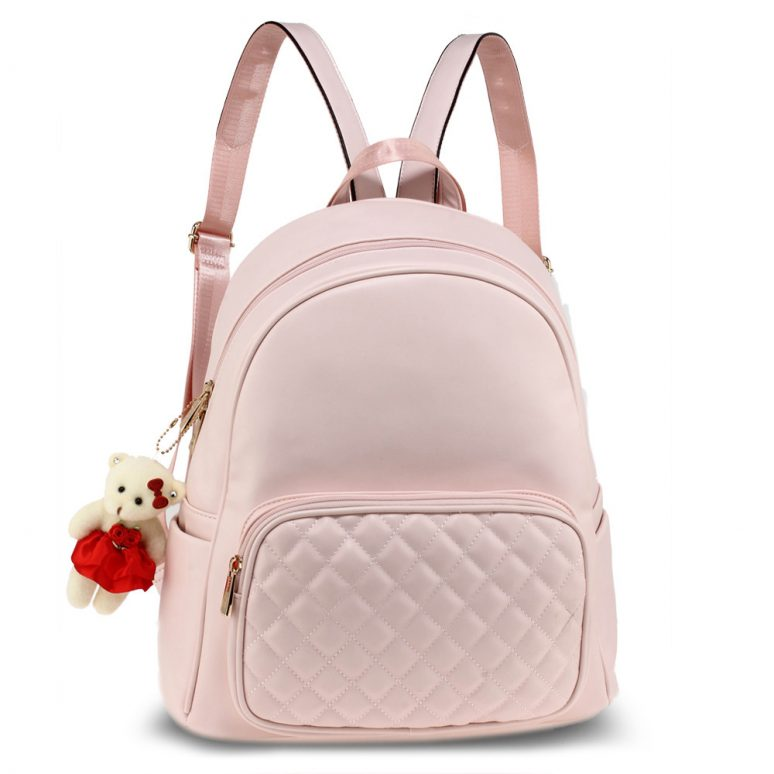 AG00674 - Pink Backpack Rucksack With Bag Charm