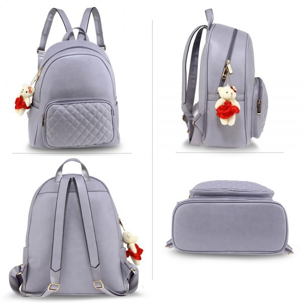 AG00674 - Purple Backpack Rucksack With Bag Charm
