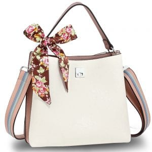 AG00682 - White / Pink Women's Fashion Tote Bag