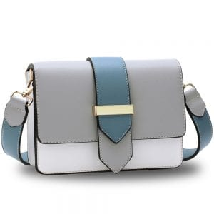AG00692 - Grey / White / Blue Flap Cross Body Shoulder Bag