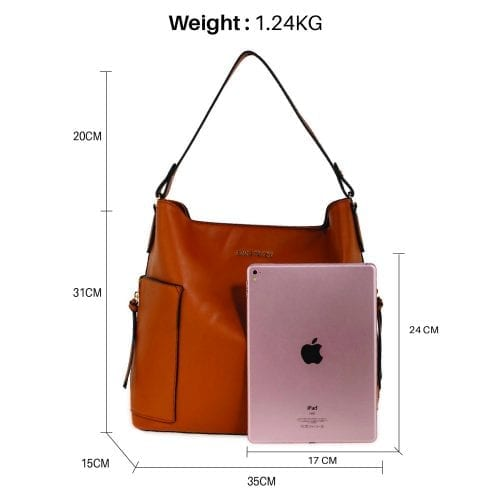 AG00696 - Brown Shoulder Bag With Pouch