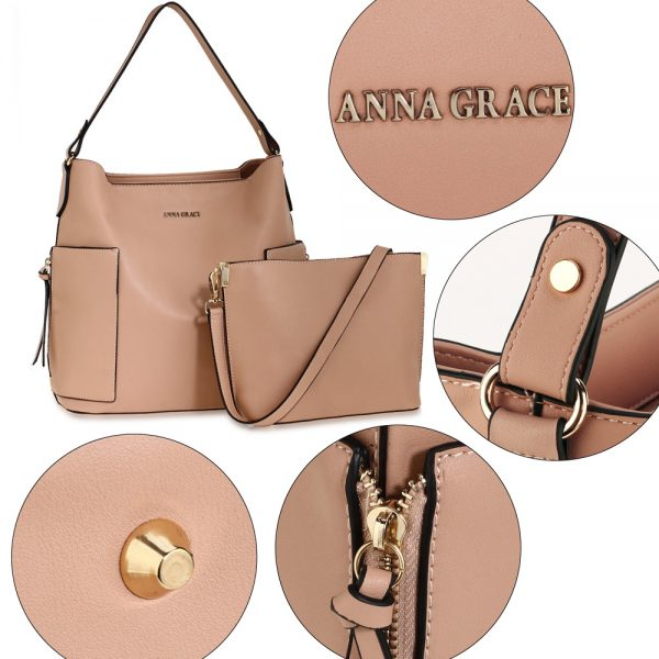 AG00696 - Nude Shoulder Bag With Pouch