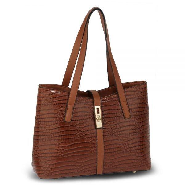 AG00710 - Brown Croc Print Tote Bag
