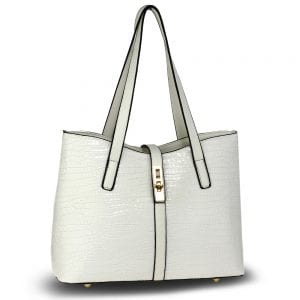 AG00710 - White Croc Print Tote Bag