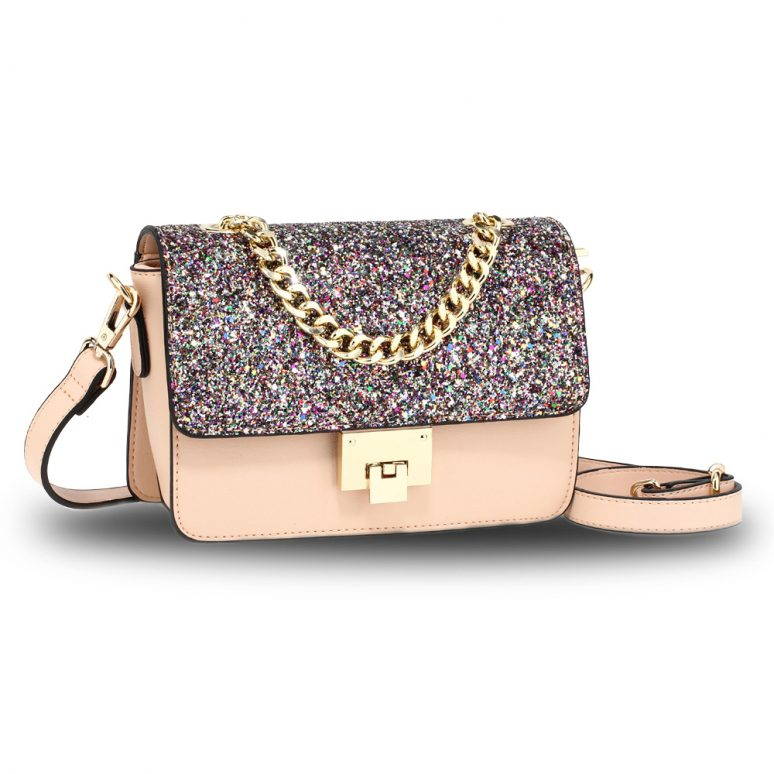 AG00716 - Multi Glitter Flap Cross Body Bag