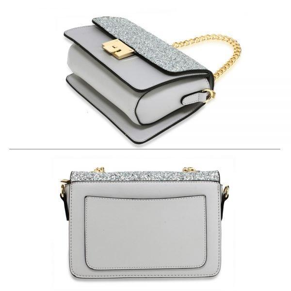 AG00716 - Silver Glitter Flap Cross Body Bag