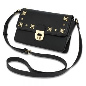 AG00718 - Black Flap Twist Lock Cross Body Bag