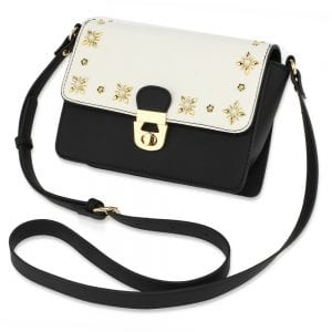 AG00718 - White/Black Flap Twist Lock Cross Body Bag