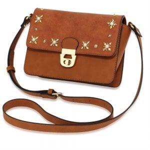 AG00718 - Tan Flap Twist Lock Cross Body Bag