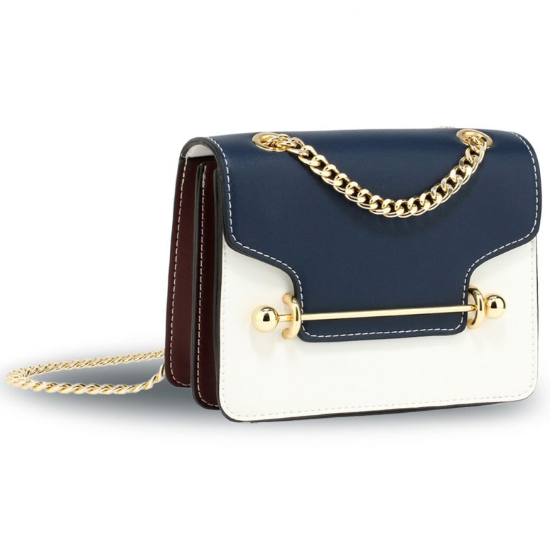 AG00720 - Navy / White / Burgundy Flap Style Cross Body Bag