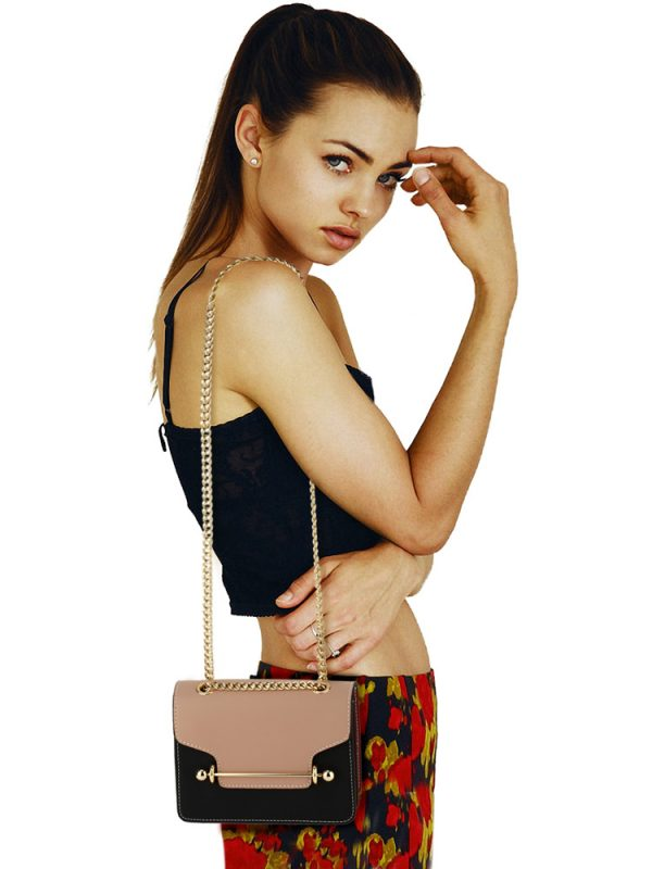 AG00720 - Nude / Black / Red Flap Style Cross Body Bag