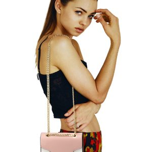 AG00720 - Pink / White / Brown Flap Style Cross Body Bag