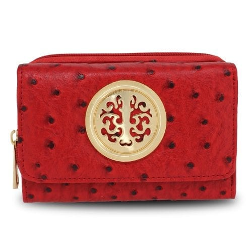 AGP5016 - Red Ostrich Skin Effect Purse  Wallet
