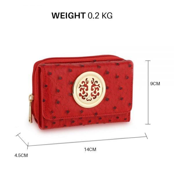 AGP5016 - Red Ostrich Skin Effect Purse  Wallet