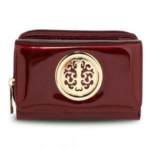 AGP5017 - Burgundy Patent Purse/Wallet with Metal Decoration