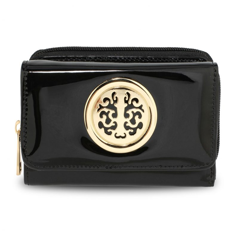 AGP5017 - Black Patent Purse/Wallet with Metal Decoration
