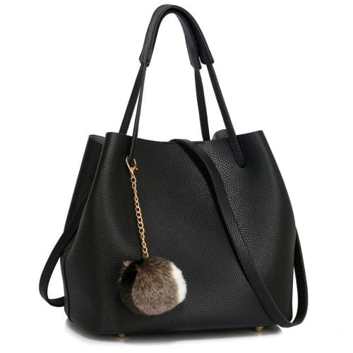LS00190 - Black Hobo Bag With Faux-Fur Charm
