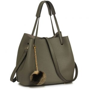 LS00190 - Grey Hobo Bag With Faux-Fur Charm