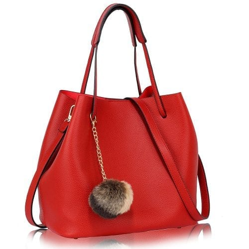 LS00190 - Red Hobo Bag With Faux-Fur Charm